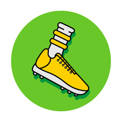 Vector flat icon of soccer footbal boot and sock. Black outline, green background. Pictogram