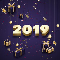 Happy New Year 2019 greeting card with golden 3d gifts.