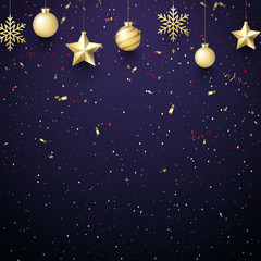 Christmas and New Year background with golden Christmas balls and confetti.
