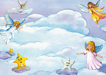 Background with cute flying angels, stars and clouds. Watercolor illustration theme for Christmas or religious designs and projects. Card or invitation template.