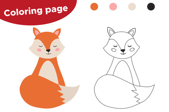 Coloring page for kids. Cute cartoon fox. Woodland animals. Vector illustration.