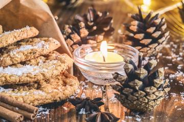 Homemade oatmeal cookies, cinnamon and anise seeds