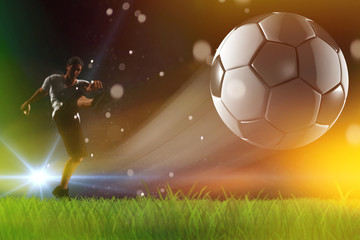 Soccer ball, player kick off , champions league