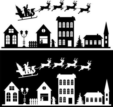 Merry Christmas and happy new year. A small town with Santa in the sky on a sleigh with deer. Paper art in digital style. Vector illustration set.