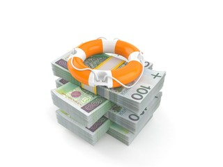 Life buoy on stack of money