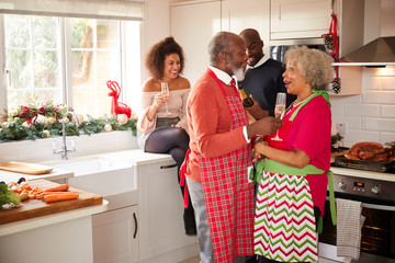 Multi-ethnic adult family celebrating  with champagne, talking and embracing in the kitchen while preparing dinner on Christmas Day