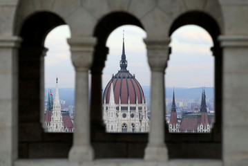 A general view of Hungary's Parliament as seen from the Fisherman's Bastion, in Budapest