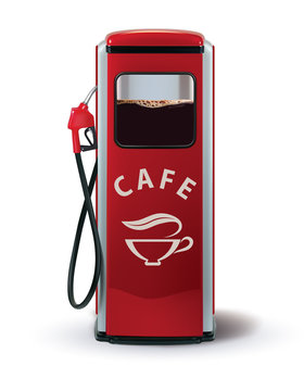 Gas Pump with coffee dispenser. Metaphor coffee is power for people. Creative vector 3d illustration