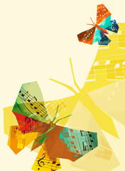Origami butterfly with musical notes. 