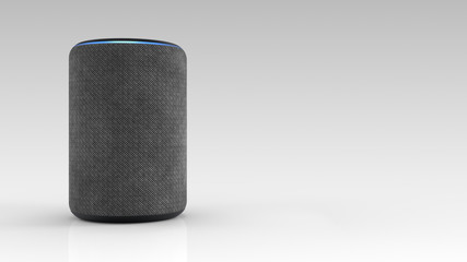3D Rendering of Amazon Alexa Echo Plus 2nd generation on light backround.