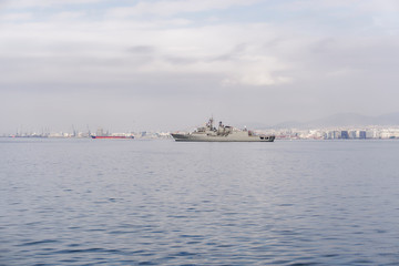 Greek frigade Hydra at sea, in Thessaloniki. The flagship of the Hellenic Navy, Greek Hydra-class frigade close to Thessaloniki waterfront, during national day military parade.