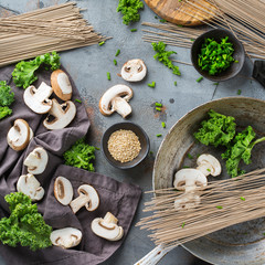 Buckwheat soba noodles soup ingredients for asian chinese japanese food
