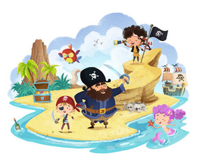 piratas niños en isla