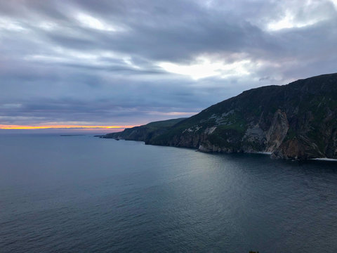 Slieve Leagues cliffs at sunset. Ireland
