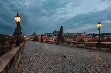 Charles Bridge before sunrise / An amazing view before sunrise of Charles Bridge in Prague, Czech Republic