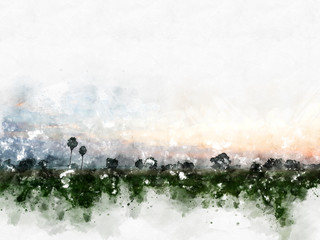 Abstract colorful field landscape on watercolor illustration painting background.