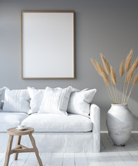 Mock up poster frame in home interior background, Bohemian style living room, 3D render