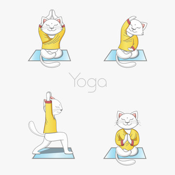 White cat in clothes is engaged in yoga on the rug in various poses. Set of illustrations on a white background.
