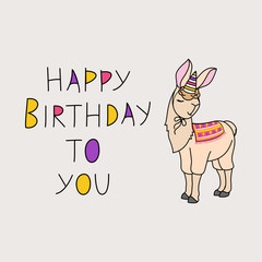 Vector illustration of happy birthday. Beige llama in a festive cap on a gray background. Lettering birthday.