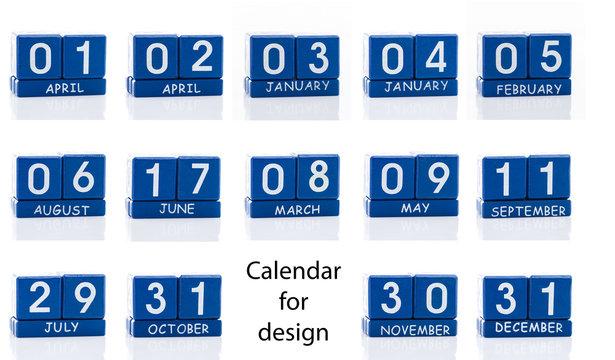 perpetual calendar cube isolated