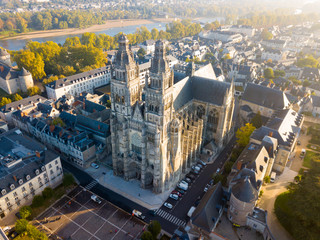Aerial view on Tours Cathedral - fototapety na wymiar