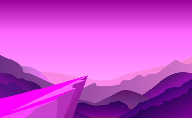 Cliff background violet where adventure in jungle. Stand on cliff look to the moon in around with mountains in a night. Vector illustration. Mountains and hills flat color landscape in the morning