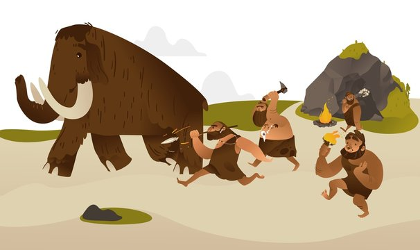 Ancient caveman with prehistoric weapons hunting for mammoth in flat cartoon style - vector illustration of tribe of primitive male characters dressing in animal pelts chasing running prey.
