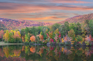 Fall Foliage Reflected in the Lake at  Cheaha State Park, Alabama