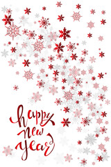 Happy new year greeting card with shiny red snowflakes on a white background
