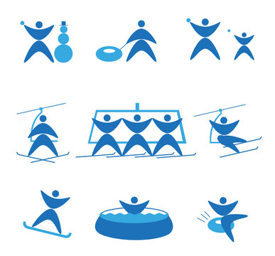 Collection of winter icons representing skiing and other winter outdoor activities, snowtubing, snowball, jacuzzi,. Design for tourist catalog, maps of ski slopes, placard, flyer. Vector illustration.