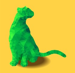 Poly animal cat sitting colored green polygonal abstract vector illustration