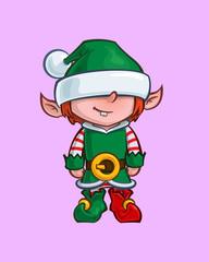 Christmas Cartoon Icon - Santa Elf Minion Helper