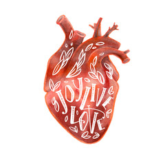 Realistic silhouette of human heart with lettering