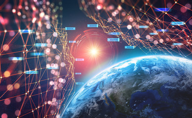 Planet Earth in the era of digital technology. Global communication networks of future. Data storage system. 3D illustration of Artificial Intelligence. Elements of this image are furnished by NASA
