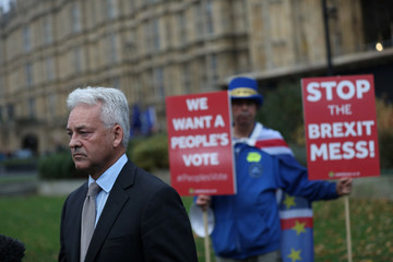 Minister for Europe and the Americas, Alan Duncan, speaks to the media on Abingdon Green, in London