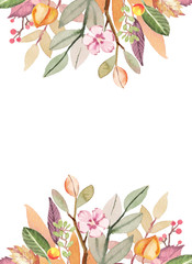 Watercolor hand-painted autumn leaves composition illustration template on white background
