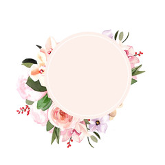 Watercolor hand-painted floral botanical peonies and leaves wedding illustration template on white background