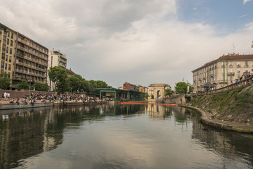 Milan, Darsena view on the canal, Italy