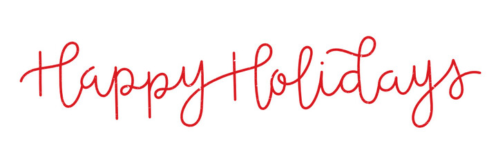 Wall Mural - HAPPY HOLIDAYS distressed red hand lettering banner