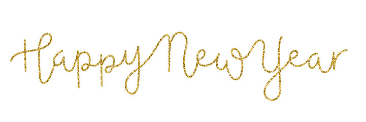 HAPPY NEW YEAR gold glitter hand lettering banner
