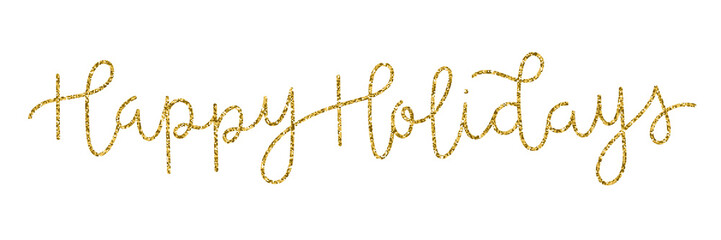 Wall Mural - HAPPY HOLIDAYS gold glitter hand lettering banner