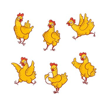 Vector illustration set of funny cartoon hen in different poses isolated on white background - cute hand drawn yellow smiling chicken standing along and with egg, running and having fun.