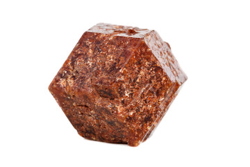 Macro mineral stone Garnet on a white background