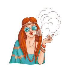 Vector hippie girl smoking cannabis. 70s hipster woman rastaman in sunglasses with marijuana cigarette. Female sketch character smoking weed as sign of peace and freedom