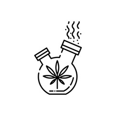 Bong for smoking cannabis line icon - thin outline symbol of stuff for smoke weed with marijuana leaf isolated on white background. Vector illustration of apparatus for drug consumption.