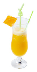 orange juice in tall glass. fresh drink with ice decorated with fruit slice and straw