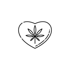 Heart symbol with marijuana leaf inside line icon - thin outline pictogram of cannabis consumption affecting heart and causing cardiovascular disorders in isolated vector illustration.