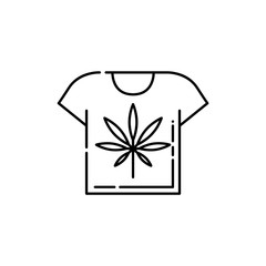 T-shirt with cannabis leaf line icon - thin outline symbol of clothing with marijuana in isolated vector illustration for weed consumption and medical marihuana legalization concept.