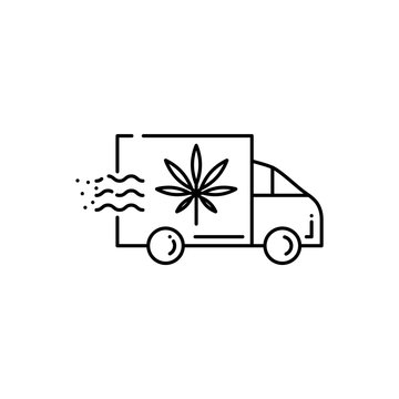 Delivery truck icon with marijuana leaf isolated on white background - thin outline vector illustration of van with cannabis for drug consumption and marijuana medical use concept.