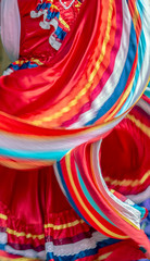 Background with a Mexican dancer dress